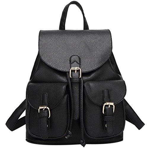 5e38ba2a413c Coofit Women Soft Leather Lovely Backpack Cute Schoolbag Shoulder Bag (Black )
