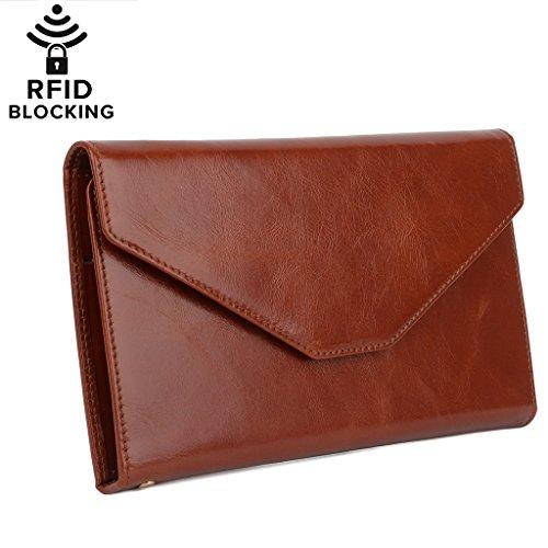 YALUXE Women's RFID Blocking Leather Large Wristlet Clutch Passport Checkbook Wallet(Gift Box)