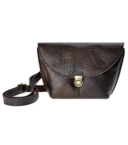 ZLYC Women Fashion Alligator Pattern Grain Leather Button Cross Body Bag (Brown)
