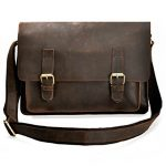 ZLYC Men Vintage Leather Messenger Bag Briefcase Shoulder Bag For 15 Inch Laptop, Dark Brown