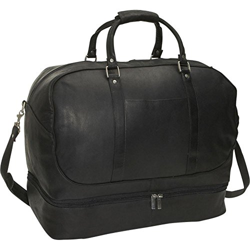 David King Leather Duffle with Bottom Compartment in Black