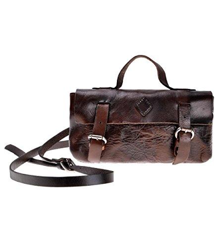 ZLYC Women Handmade Genuine Grain Cow Leather Fashion Mini Shoulder Bag with Handle, Dark Brown