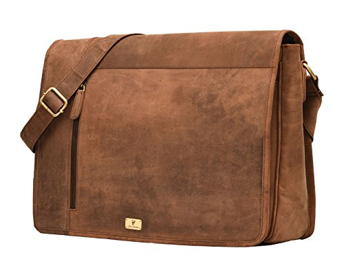 DH VALLEY Retro Buffalo Hunter Leather Laptop Messenger Bag Office Briefcase College Bag