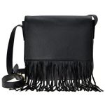 ZLYC Women's Fashion Handmade Cow Leather Fringe Handbags Tassels Crossbody Bag (Black)