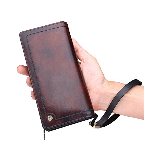 Contacts Genuine Leather Long Wallet Coin Clutch Purse Wristlet Men Women Red-Brown