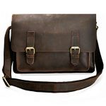 ZLYC Men Vintage Handmade Leather Messenger Bag Shoulder Briefcase Fit 14 Inch Laptop, Dark Brown, Size M
