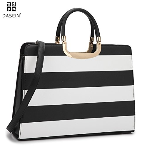 ca013d7501 Dasein Women s Handbag PU leather Top Handle Satchel Designer Tote Purse  Stripes Laptop Briefcase Bag