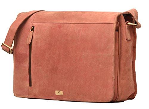 DH OOTY genuine buffalo leather messenger bag in vintage style shoulder travel bag laptop bag for men and women