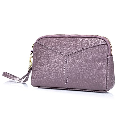 Aladin Large Leather Wristlet Purse, Zip Cell Phone Wallet Iphone 7 Plus 6S Galaxy S7 Note 5 for Women Purple