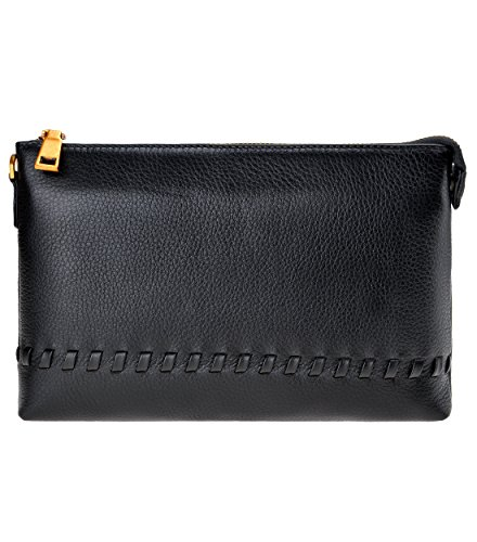 ZLYC Unisex Genuine Grain Leather Medium Zipper Clutch Wallet With Removable Wristlet (Black)