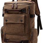 Yousu Canvas Backpack Fashion Travel Backpack School Rucksack Hiking Daypack (Coffee)
