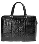 ZLYC Men Cowhide Leather Embossed Crocodile Pattern Briefcase Casual Messenger Bag Fashion Handbag Shoulder Bag, Black