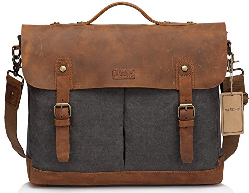 Leather Canvas Messenger Bag for Men and Women 15 inch Laptop Vintage Satchel Business Briefcase Shoulder Bag