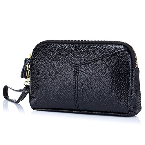 Aladin Large Leather Wristlet Purse, Zip Cell Phone Wallet Iphone 7 Plus 6S Galaxy S7 Note 5 for Women Black