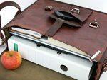 15″ Real Leather Laptop Bag Leather Messenger Bag School Shoulder Satchel Purse