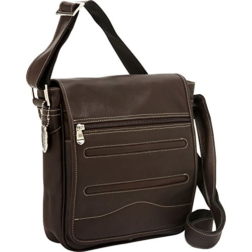 David King Deluxe Medium Leather Messenger Bag in Cafe