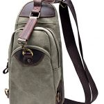 Gootium Canvas Sling Bag Chest Pack Unbalance Shoulder Backpack Army Green