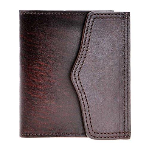 ZLYC Minimalist Handmade Vegetable Tanned Leather Card Case Holder Cion Purse, Dark Brown