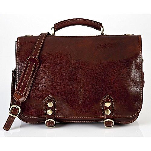 Alberto Bellucci Milano Italian Leather Comano Double Compartment Messenger Bag