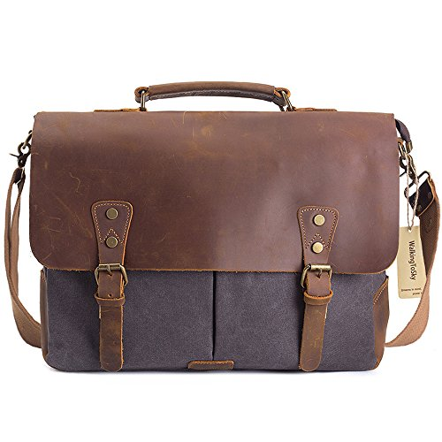 WalkingToSky 15.6 inch Leather Vintage Messenger Bag for Men and Women, Canvas Back to School Satchel Laptops Bag Grey