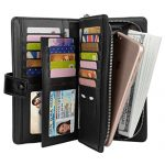 YALUXE Women's Ultra Large Capacity Leather Wristlet Wallet Smartphone Clutch