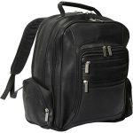 David King Leather Oversize Laptop Backpack in Black