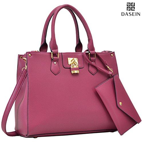 Dasein Women's Designer Leather Satchel Top Handle Shoulder Bag Padlock Tote Handbag w/ Wristlet Coin Purse