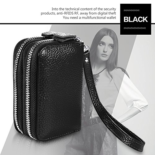Accordion Fold RFID Blocking Genuine Leather Wallet with Wrist Strap for Women