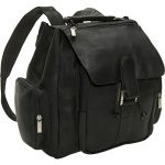 David King Leather Top Handle Backpack in Black
