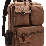 Yousu Men's Canvas Backpack School Backpack Travel Daypack fits 14'' Laptop (Brown)