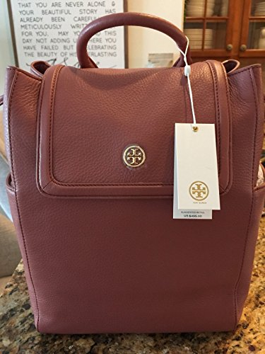 Tory Burch 31387 217 Landon Flap Backpack in Pebbled Leather Maple Sugar