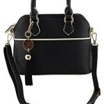 Amy&Joey faux leather mini dome satchel shape cross body handbags with removable tassels charm detail (BLACK)