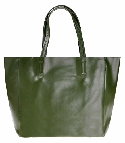 ZLYC Women Classic Basic Shopper Leather Tote Bag Fashion Purse with Removable Zipper Pouch, Army Green