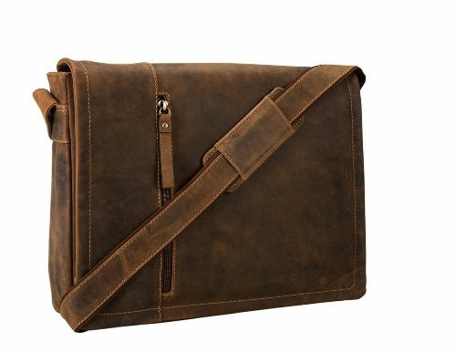 Visconti Visconti Foster 13.3 Inch Distressed Oiled Leather Laptop Messenger Bag
