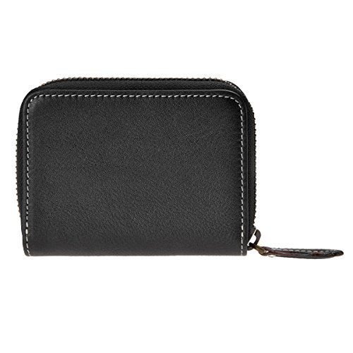 ZLYC Genuine Leather Business Credit Card Wallet Zipper Card Holder Case Small Compact Purse, Black