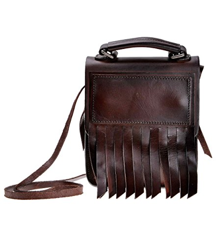 ZLYC Women Vegetable Tanned Leather Fashion Mini Shoulder Handle Bag with Tassels, Dark Brown