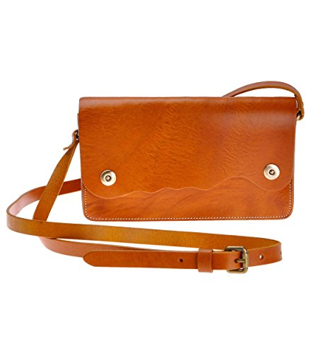 ZLYC Women Handmade Vegetable Tanned Leather Wave Shape Design Mini Shoulder Bag, Brown