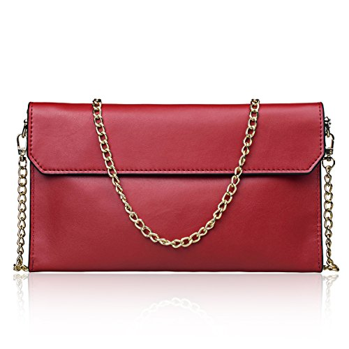 Big Sale-S-ZONE Women's Genuine Leather Evening Envelope Clutches Handbags Shoulder Bag Wedding Party Bags with Removable Wrist Strap