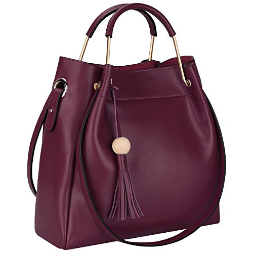 BIG SALE-50% OFF-S-ZONE 3-Way Women Designer Leather Tassel Handbag Shouler Bag Crossbody Purse(Wine Red)
