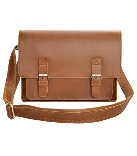 Leather Messenger Bag ZLYC Macbook Laptop Bag Vintage Briefcase Men Shoulder Bag Crossbody Satchel, Brown, 15 Inch