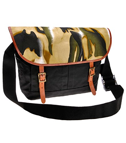 ZLYC Canvas Messenger Bag Camouflage Pattern Shoulder Bag Leather Trim Fashion Satchel, Black