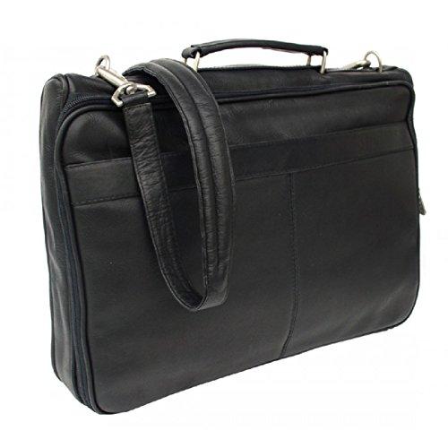 Piel Leather Entrepeneur Double Executive Computer Bag in Black