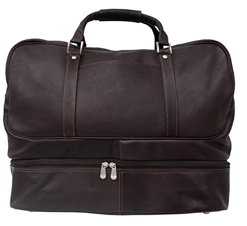 Piel Leather Traveler False Bottom Sports Bag in Chocolate
