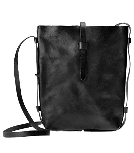 ZLYC Women Handmade Minimalist Genuine Grain Cow Leather Shoulder Cross-Body Bag (Black)