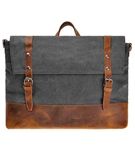 1d0a1512494c Canvas Messenger Bag ZLYC Leather Trim 15.6 Inch Laptop Bag Military  Shoulder Bag Vintage Handbag