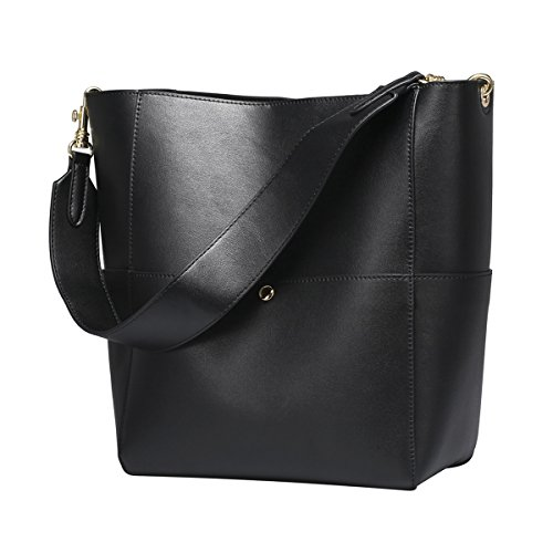 Save 30% on S-ZONE Women's Fashion Vintage Leather Bucket Tote Shoulder Bag Handbag Purse(Black)