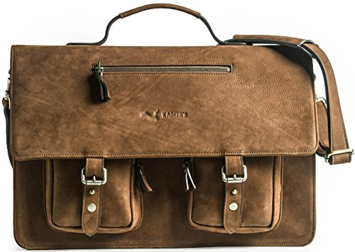 KANZEK Brown Luxury Full Grain Cowhide Leather Messenger Bag / Executive Shoulder Satchel Briefcase, 17 inch Laptops. Distressed Vintage, Large and Light for Business Professionals - Men's & Women's