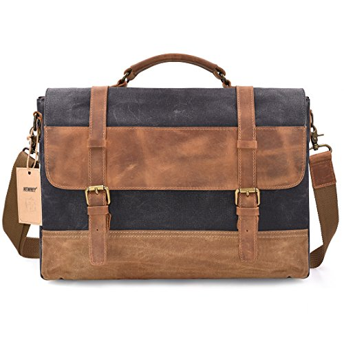 01b2101c8634 NEWHEY Canvas Leather Computer Messenger Bag Mens Laptop Briefcase Case 15  inch Waxed Waterproof Canvas Genuine Leather Large Satchel Shoulder Bag  College ...