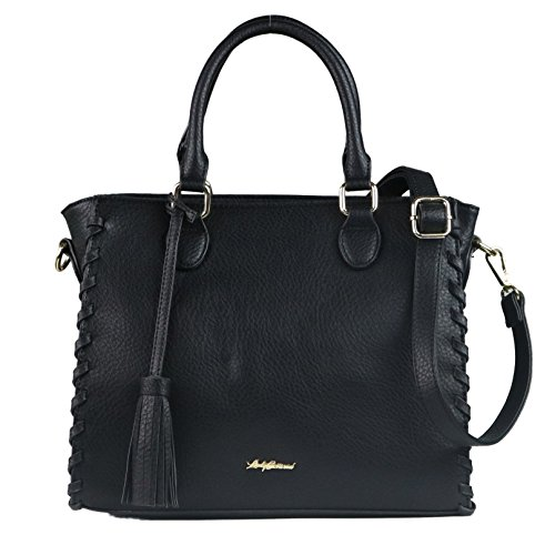 Concealed Carry Purse - YKK Locking Laced Ann Concealed Weapon Satchel by Lady Conceal (Black)