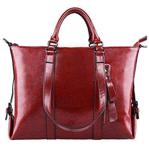 S-ZONE 3-Way Women Genuine Leather Shoulder Bag Work Tote Handbag